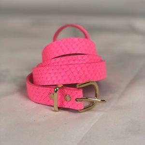 Pink Snake Skin Skinny Belt